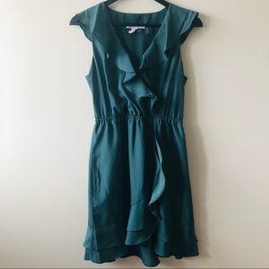 BCBGeneration Ruffle Wrap Teal Dress